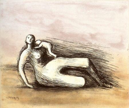 Eau-Forte Et Aquatinte Moore - Mother and Child VII