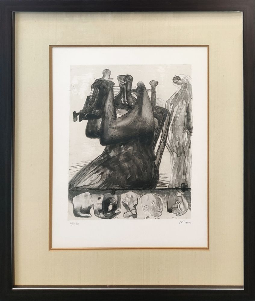 Lithographie Moore - MOTHER AND CHILD WITH BORDER DESIGN