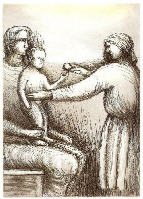 Eau-Forte Et Aquatinte Moore - Mother & Child XXI