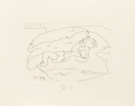 Gravure Flanagan -  Mother lying with child