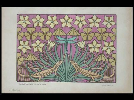 Lithographie Verneuil - Motif décoratif pour coussin ou bande