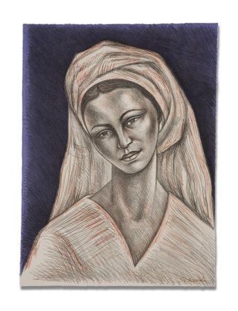 Lithographie Anguiano - Mujer con rebozo blanco