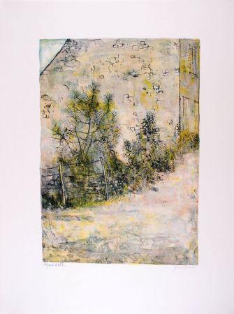 Lithographie Gantner - Mur de ferme - Farm's wall