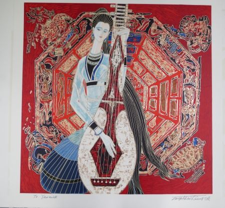 Lithographie Ting - Musician