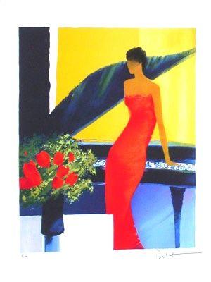 Lithographie Bellet - Musique rouge