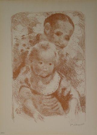 Lithographie Amiet - Mutter und Kind