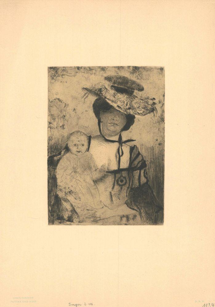 Gravure Corinth - Mutter und Kind