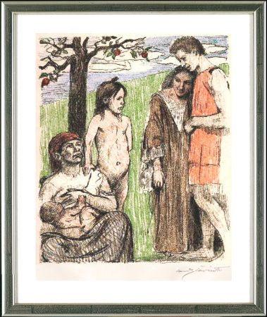 Lithographie Corinth - Mutterfreuden