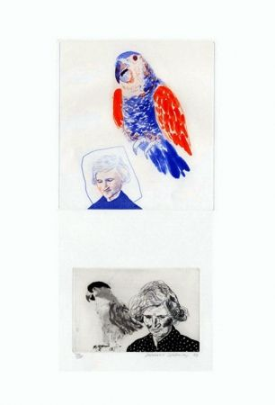 Gravure Hockney - My mother with a parrot