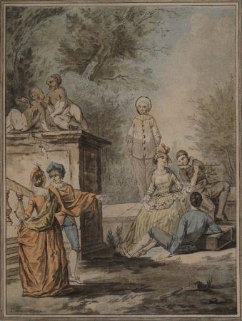 Aquatinte Janinet - Nach Jean Antoine Watteau (1684-1721). Komödiantenszene