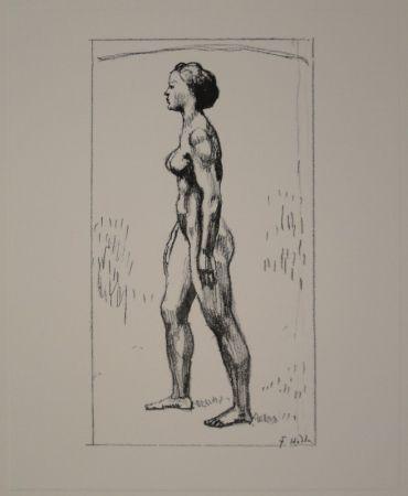 Lithographie Hodler - Nacktes Mädchen, nach links schreitend