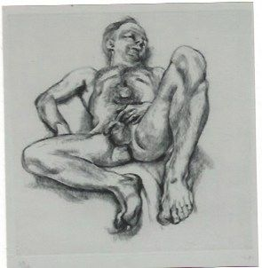 Gravure Freud - Naked man on a bed
