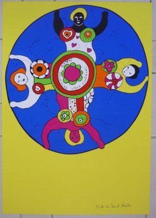 Sérigraphie De Saint Phalle - Nana fontaines jaune