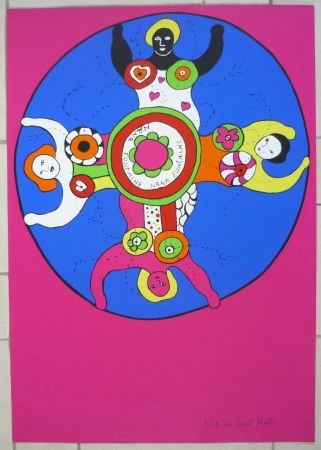 Sérigraphie De Saint Phalle - Nanas fontaine rose