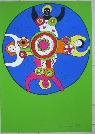 Sérigraphie De Saint Phalle - Nanas fontaine vert