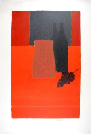 Lithographie Cathelin - Nature morte à la nappe rouge et à la grappe de raisin - Still Life with bunch of grapes on a red tablecloth