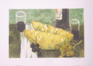 Lithographie Baboulene - Nature morte a la pasteque