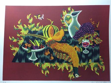 Lithographie Picard Ledoux - Nature morte au faisan