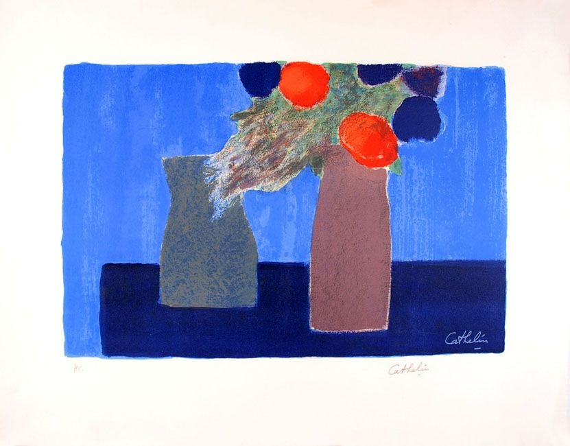 Lithographie Cathelin - Nature morte au fond bleu - Still Life on a blue background