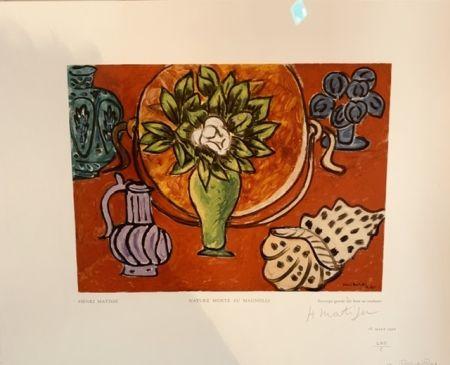 Gravure Sur Bois Matisse - Nature morte au Magnolia
