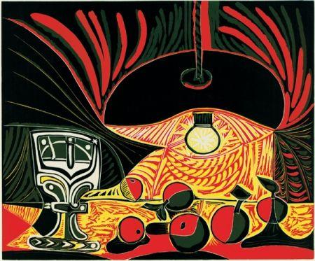 Linogravure Picasso - Nature morte au verre sous la lampe