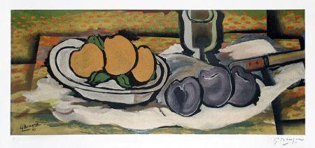 Lithographie Braque - Nature Morte Aux Fruits, 1950