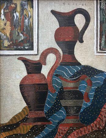 Aucune Technique Fustier - Nature morte aux jarres et drapé (1935)