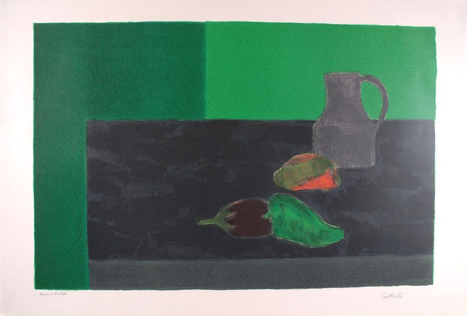 Lithographie Cathelin - Nature morte noire et verte aux poivrons - Still Life in black and green with peppers