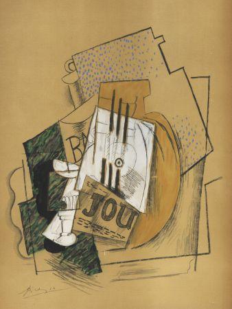 Pochoir Picasso - Nature Morte Papiers collés (1912) de l'album : Douze Contemporains par J. Lassaigne (1959)