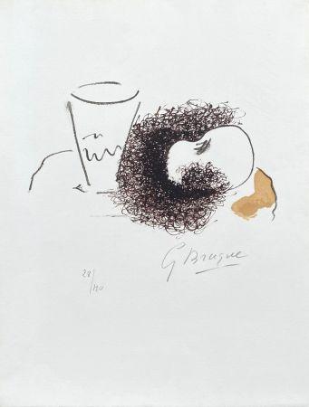 Lithographie Braque - Nature morte verre et pomme