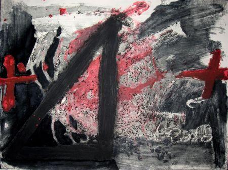 Eau-Forte Et Aquatinte Tapies - Negre i Roig