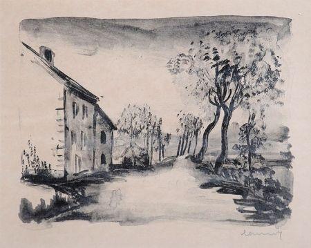 Lithographie Vlaminck - Nelle-la-Vallée, le Chemin aux Bords du Sausseron