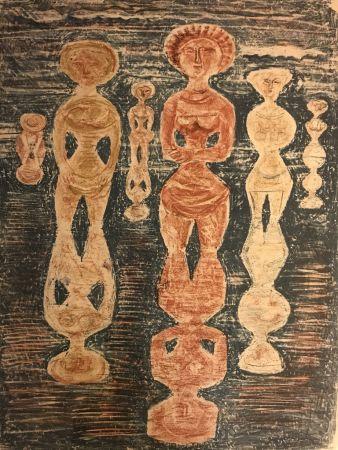 Lithographie Campigli - NELLE RISAIE - Dans les Rizières