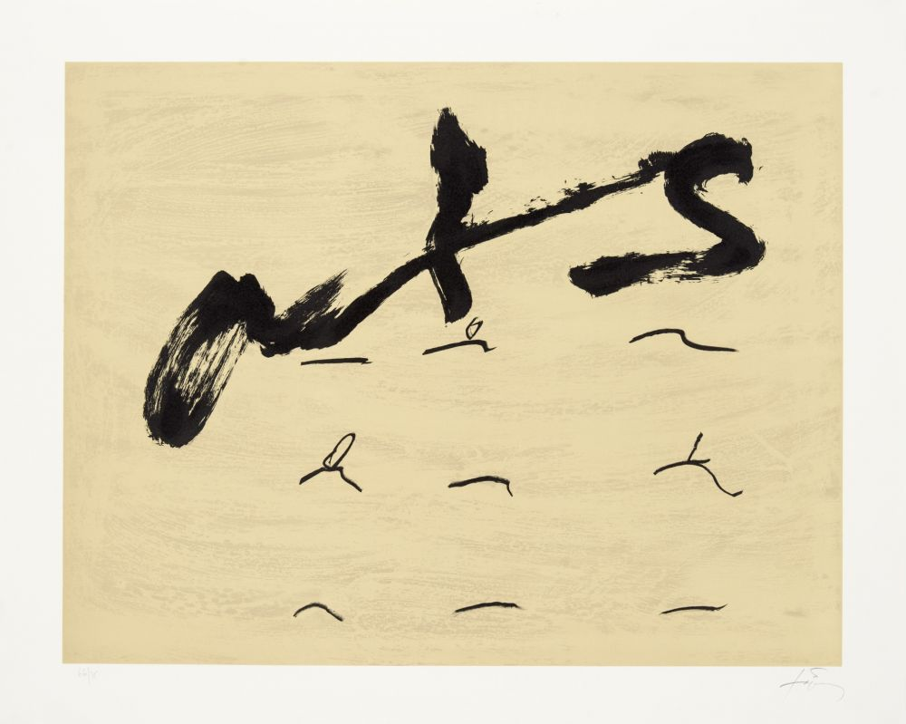 Lithographie Tàpies - Neuf tirets