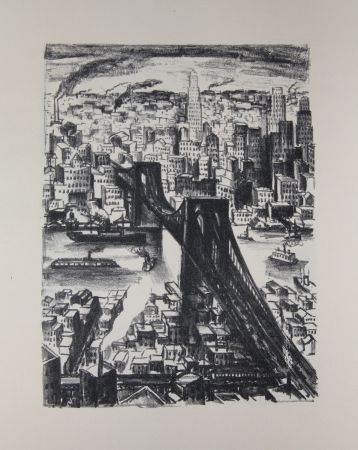 Lithographie Lubbers - NEW-YORK - BROOKLYN BRIDGE / LE PONT DE BROOKLYN