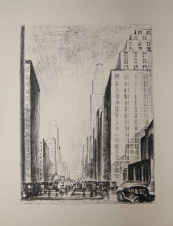 Lithographie Lubbers - NEW-YORK / BROADWAY