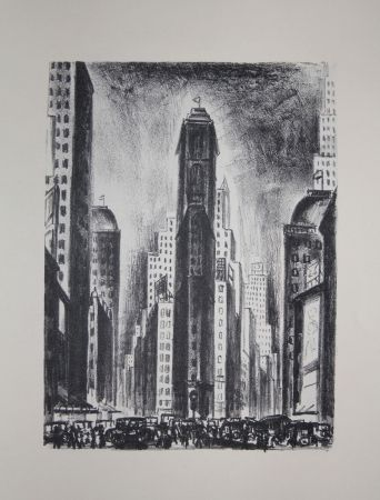 Lithographie Lubbers - NEW-YORK / TIMES SQUARE