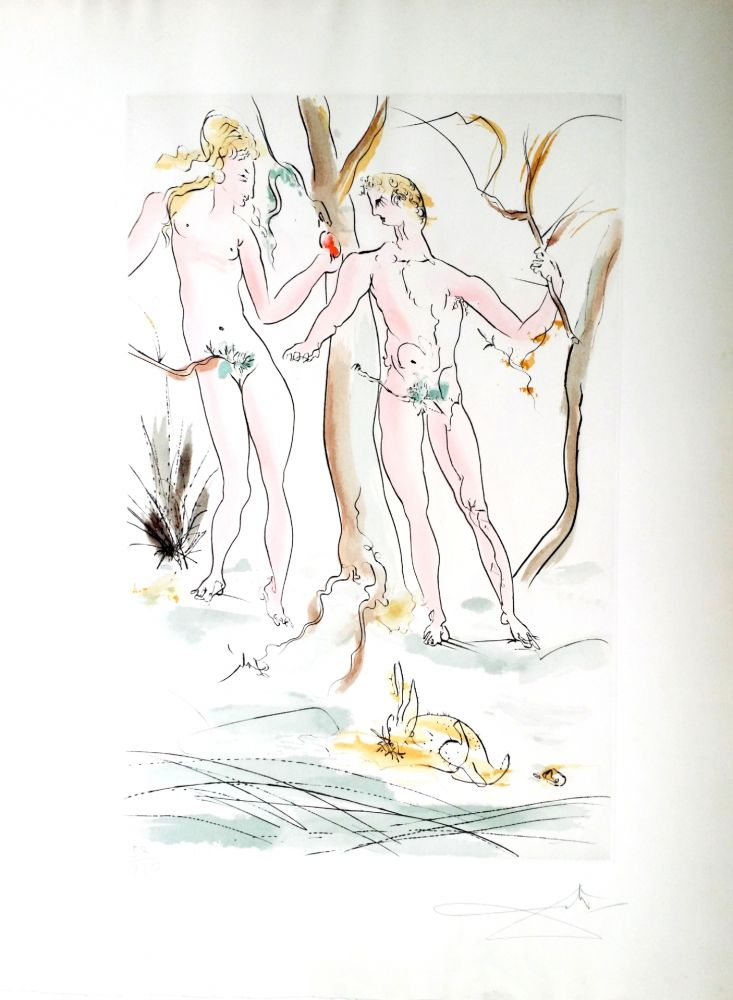Gravure Dali - New Mythological Suite/ Adam et Eve (15)