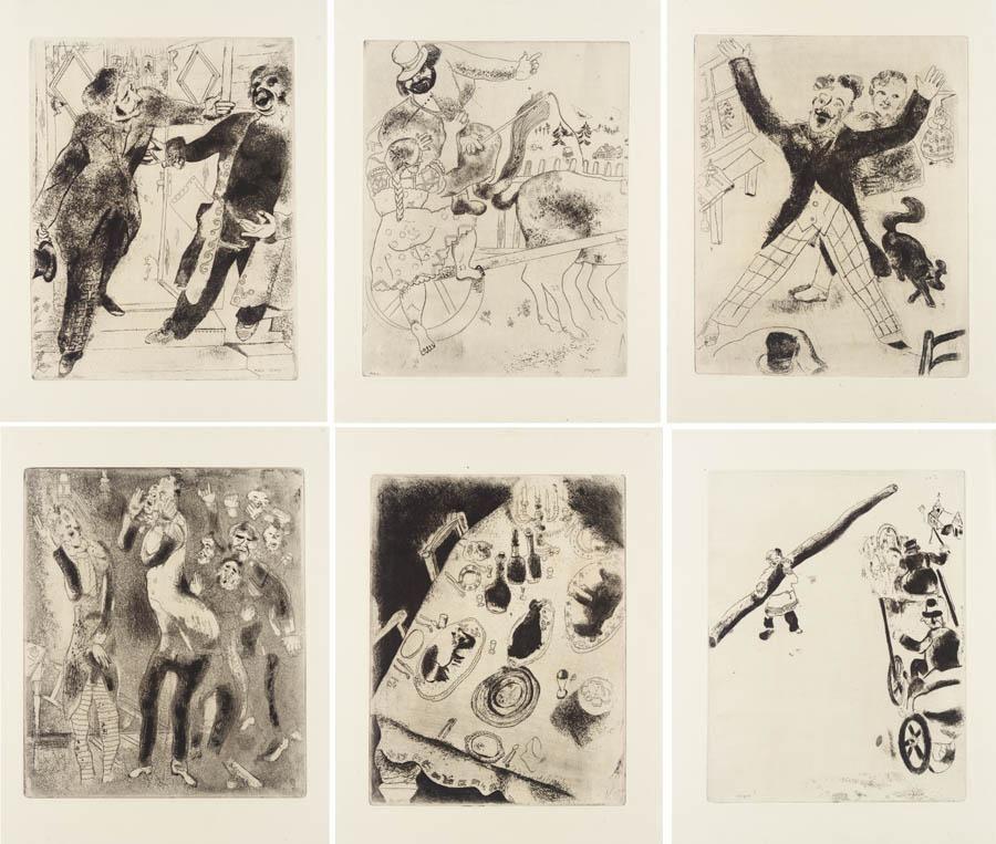 Livre Illustré Chagall - Nicolas Gogol : LES ÂMES MORTES. Eaux-fortes originales de Marc Chagall