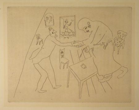 Eau-Forte Chagall - (Nicolas Gogol, Les Ames Mortes,12)