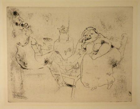 Eau-Forte Chagall - (Nicolas Gogol, Les Ames Mortes, 18)