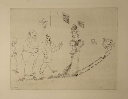 Eau-Forte Chagall - (Nicolas Gogol, Les Ames Mortes, 34)