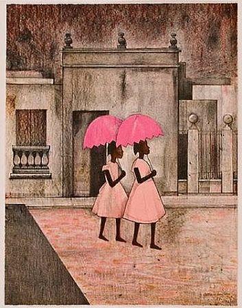 Lithographie Montoya - Ninas con paraguas