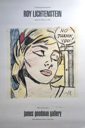 Lithographie Lichtenstein - 'No Thank You!' Hand Signed Exhibition Poster