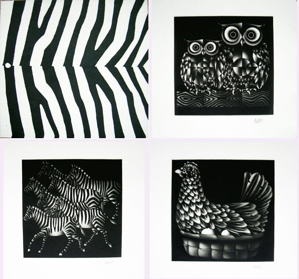 Manière Noire Avati - NOAH'S ARK. Ten Mezzotints. (1971)