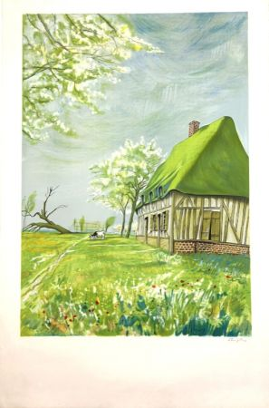 Lithographie Foujita - Normandie  Epreuve d'Artiste