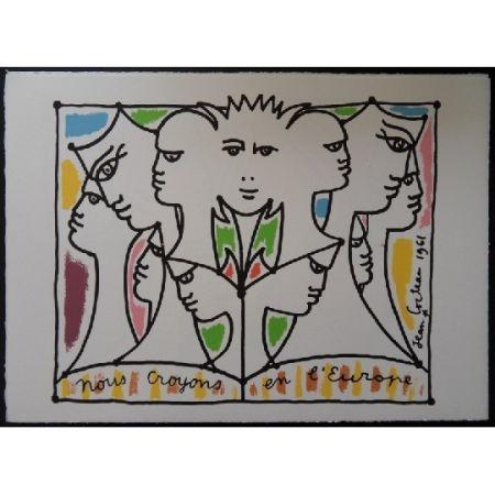 Lithographie Cocteau - Nous croyons en l'Europe