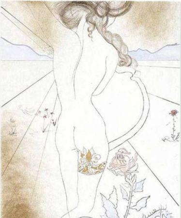 Sérigraphie Dali - Nu a la Jarretiere (Nude with Garter)