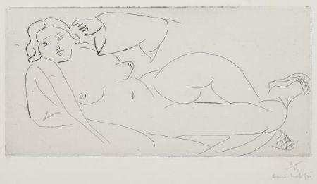 Gravure Matisse - Nu Allongé, Aux Babouches De Paille Tressée
