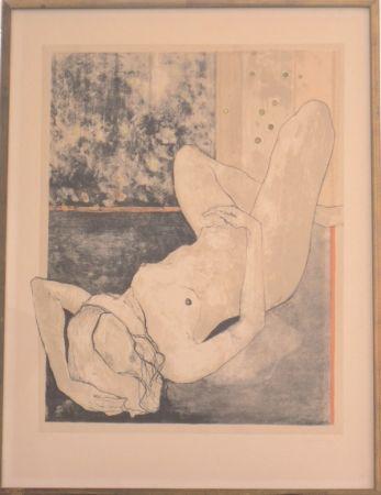 Lithographie Jansem - Nu allonge